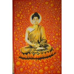 Tenture Bouddha bulles, orange