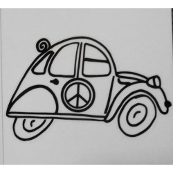 Stickers 2CV peace and love.