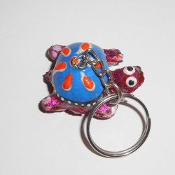 Porte-clef tortue funky rouge.