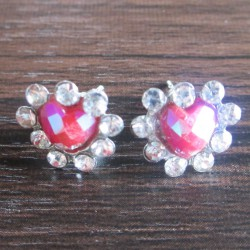 Boucles d'oreille strass Zoli coeur, roses