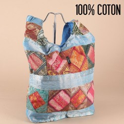 Besace indienne patchwork, bleue