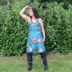 Robe mouvement hippie, bleue