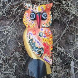 Hibou Funky, orange 17cms.