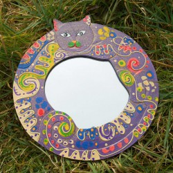 Miroir Chat funky, violet.