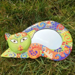 Miroir Chat allongé funky