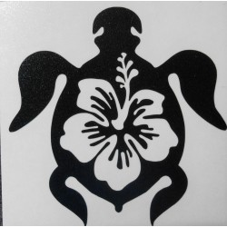 Stickers Tortue Hibiscus, noir.