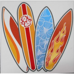 Stickers 4 planches de surf.