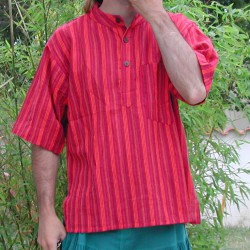 Chemisette indienne, rouge. chemise ethnique homme