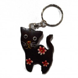 Porte-clef chat, rouge.