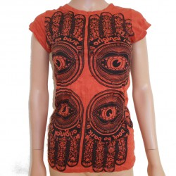 Tee-shirt Thai Main de fatma orange