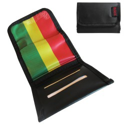 "Mini Blague a tabac ""Rasta Flag"" en simili cuir (feuille regular)"