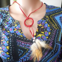 Collier Dreamcatcher rouge