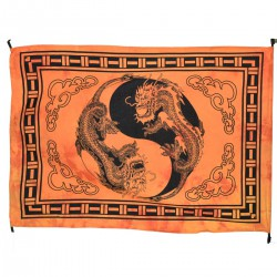 Tenture dragon batik ying yang, orange. Mini