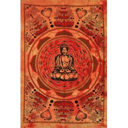 Tenture Bouddha lotus orange mini
