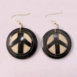 Boucles d'oreilles Nepal Peace and love noir