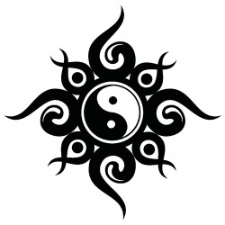 Sticker Ying Yang tribal, noir