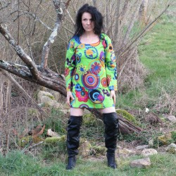 Robe Tunique Mouvement hippie verte