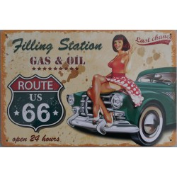 "Plaque métal vintage ""Pin-up route us 66"""