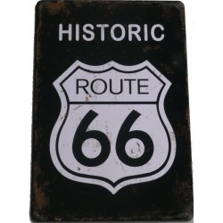 "Plaque métal vintage ""Historic route 66"""