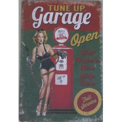 "Plaque métal vintage ""Pin up garage"""