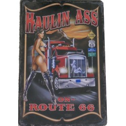 "Plaque métal vintage ""Haulin ass on route 66"""
