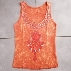 Top taille M Bijou Indien, orange.