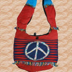 Sac Peace and love, rouge. Sac hippie bohème, 100% baba
